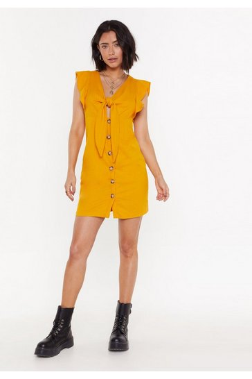 Womens Mustard Bow 'Em Who's Boss Button-Down Mini Dress