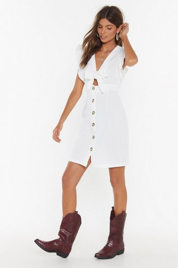 Womens White Believe It or Knot Tie Button-Down Dress