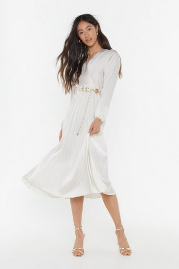 Womens Stone We Aim to Pleat Satin Midi Dress