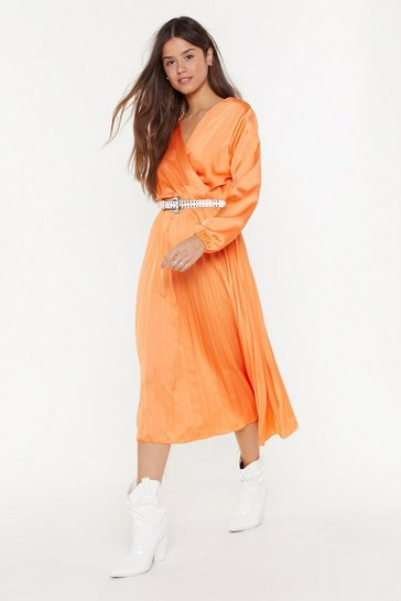 Womens Coral We Aim to Pleat Satin Midi Dress