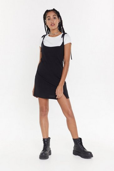 Womens Black 2 in 1 Tie Strap T-Shirt Dress