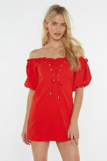 Womens Red Hot Damn Off-the-Shoulder Lace-Up Dress