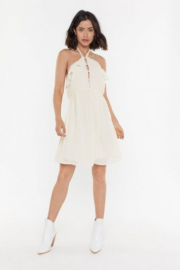 Womens Cream Dobby Mesh Pearl + Frill Detail Dress