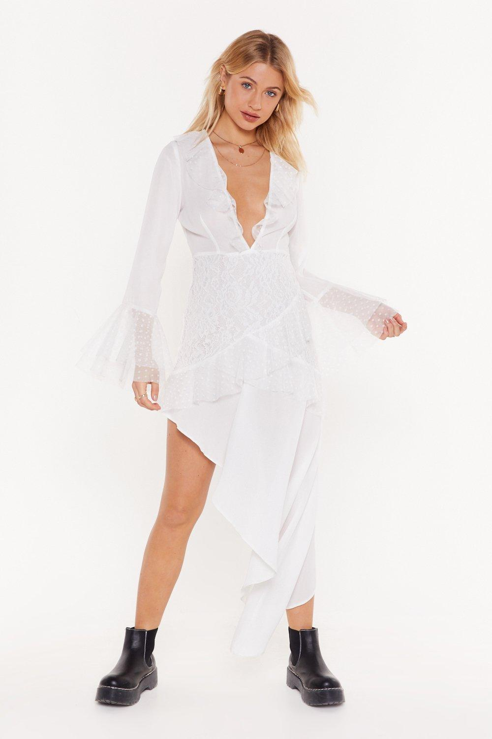 Lace Be Honest Plunging Midi Dress by Nasty Gal