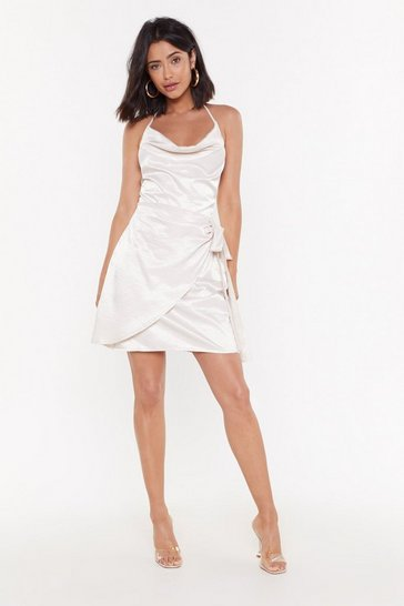 Womens Sand Cowl Me Satin Mini Dress