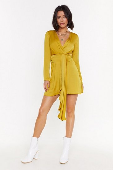 Womens Chartreuse Anything Could Satin Drape Mini Dress