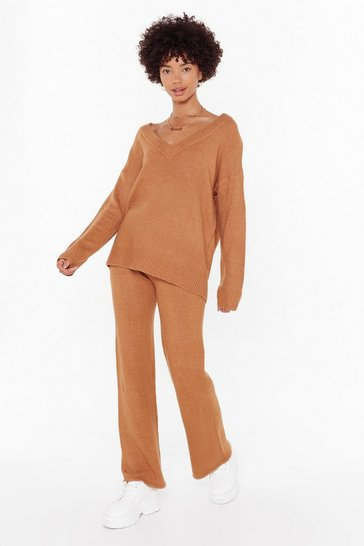 Womens Camel Let Knit V Sweater and Pants Lounge Set