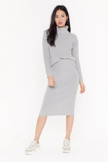 Grey All Set Turtleneck Sweater and Midi Skirt Set