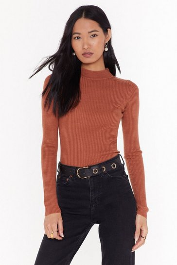 Womens Terracotta I'm Done With Your Issues High Neck Ribbed Sweater