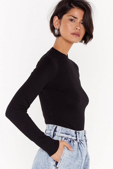 Womens Black I'm Done With Your Issues High Neck Ribbed Sweater