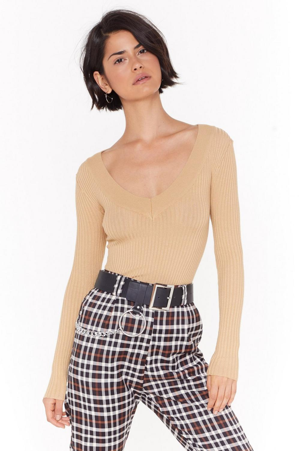 We're Meant To V Ribbed Knit Sweater by Nasty Gal