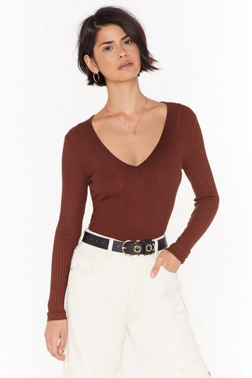 Womens Mocha Knit It Out V-Neck Ribbed Jumper