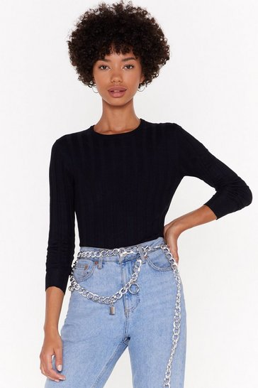 Womens Black For What Knit's Worth Ribbed Sweater