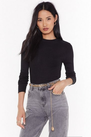 Womens Black Keepin' Knit Real Ribbed Sweater