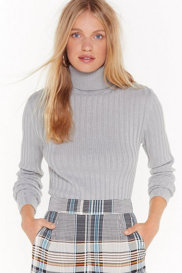 Womens Grey You're On a Roll Ribbed Turtleneck Sweater