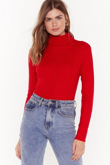 Womens Scarlet You're On a Roll Ribbed Turtleneck Sweater