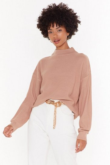 Womens Dusky pink High Neck Boxy Jumper
