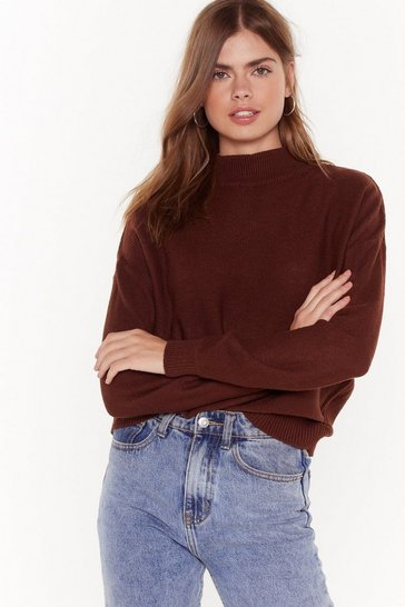 Womens Brown High Neck Boxy Jumper