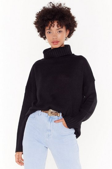 Womens Black Don't Cry Because Knits Over Turtleneck Sweater