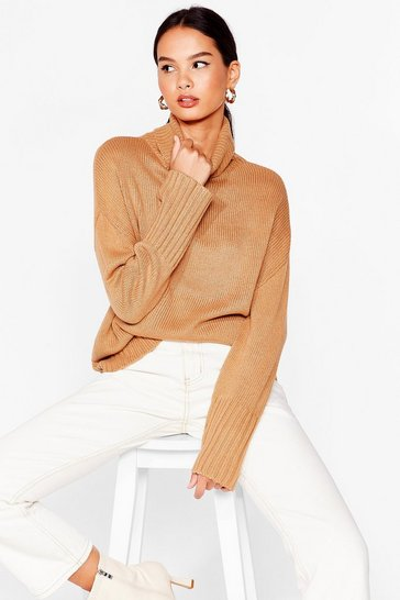 Camel Don't Cry Because Knits Over Turtleneck