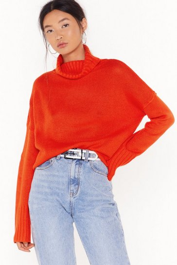 Womens Orange Don't Cry Because Knits Over Turtleneck Sweater