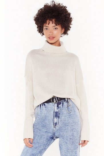 Womens Oatmeal Don't Cry Because Knits Over Turtleneck Sweater