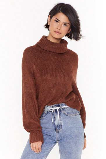 Womens Brown Love Has Taken It's Roll Turtleneck Knit Sweater