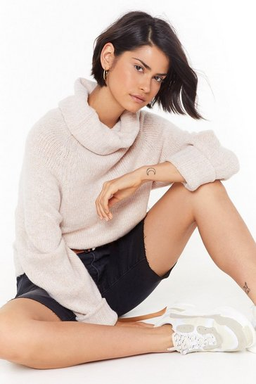 Womens Oatmeal Eye Roll Knit Turtleneck Sweater