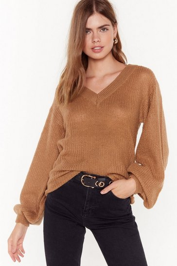Womens Camel You Can Count on V Relaxed Knit Sweater