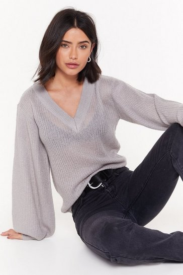 Womens Grey V Neck Balloon Sleeve Jumper