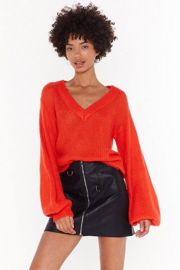 Womens Orange You Can Count on V Relaxed Knit Sweater