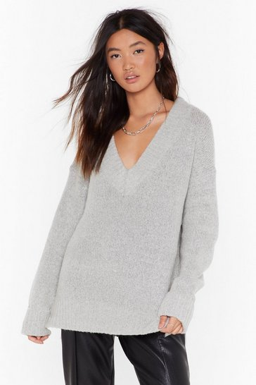 Womens Grey V Ready Knitted Oversized Sweater