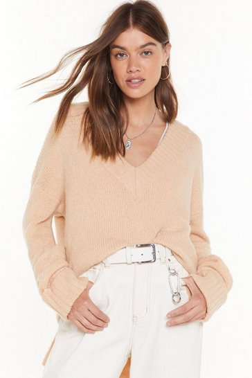 Womens Sand Shake Knit Up V-Neck Sweater