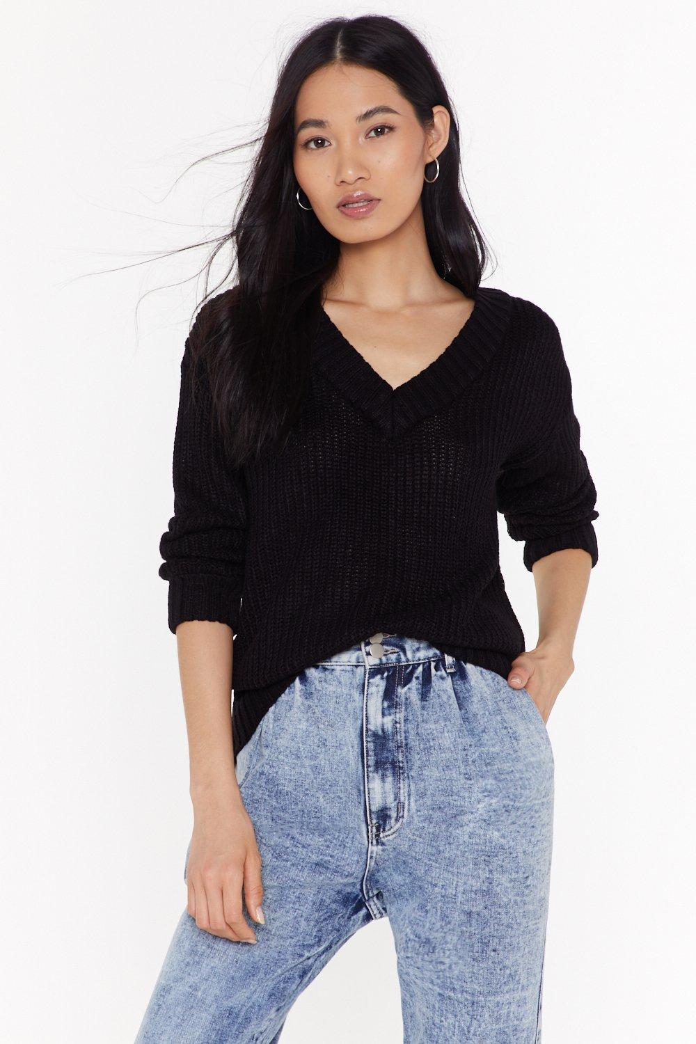 Never Had Knit So Good V Neck Knitted Sweater by Nasty Gal