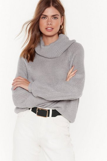 Womens Grey On a Roll Turtleneck Jumper