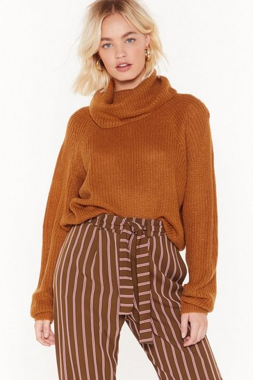 Womens Turmeric Knit-ing on Top of the World Oversized Sweater