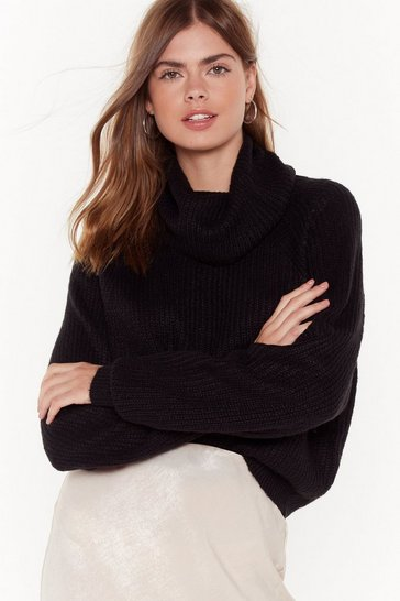 Womens Black Soft Roll Neck Oversized Jumper