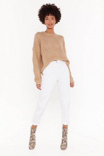 Camel Bring It to the Cable Knit Relaxed Sweater