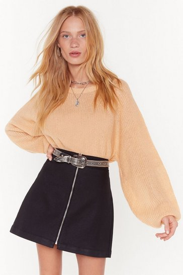 Womens Biscuit See You Balloon Sleeve Knit Jumper