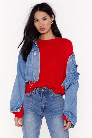 Womens Scarlet Knit Whilst You're Ahead Balloon Sleeve Sweater