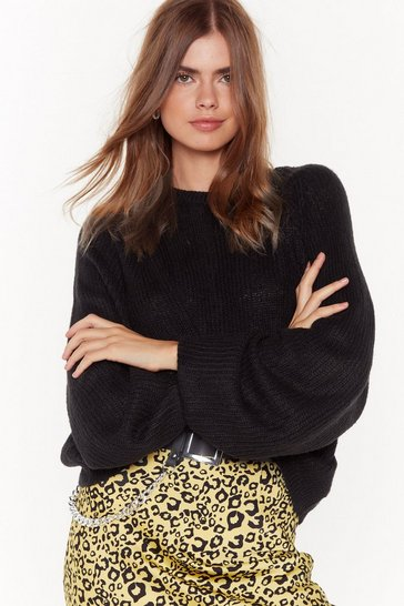 Womens Black See You Balloon Sleeve Knit Sweater