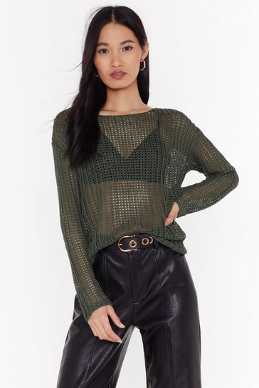 Womens Khaki Let It Loose Boat Neck Sweater