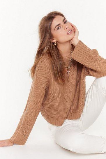 Womens Camel Let's Knit the Road Relaxed Jumper
