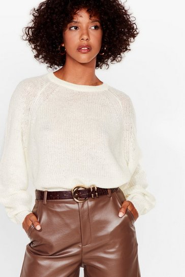 Ivory See You Balloon Sleeve Knit Sweater