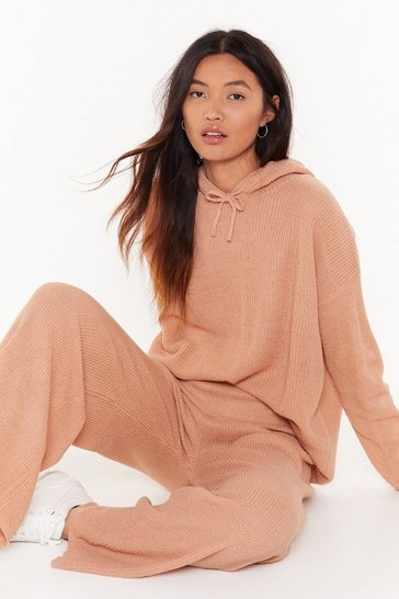 Womens Camel Knit's Time to Chill Hoodie and Pants Lounge Set
