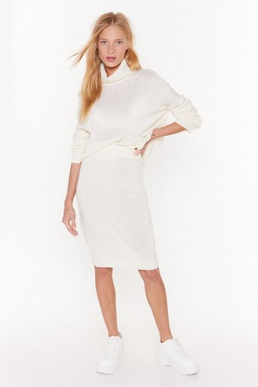Womens Ivory Knit's Gonna Be All Right Turtleneck Sweater and Skirt Set