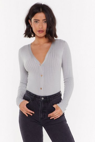 Womens Grey Act on Knit Ribbed Cardigan