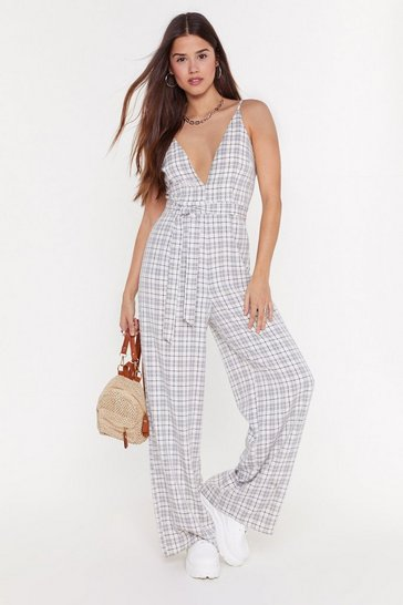 Beige Check Wide Leg Jumpsuit