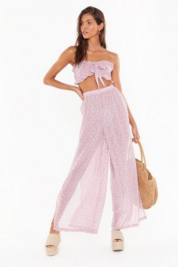 Womens Mauve Floral Tie Bandeau & Split Trouser Beach Co-Ord