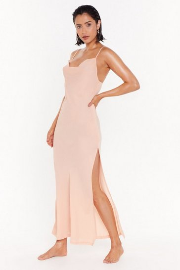 Womens Nude Cowl neck Chiffon Maxi Beach Dress